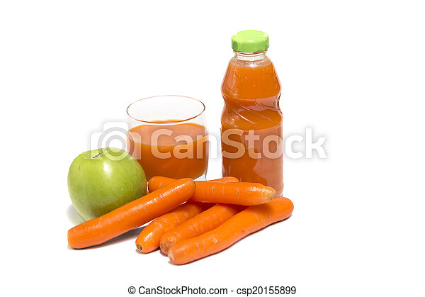 Apples, carrot and juice in glass - csp20155899