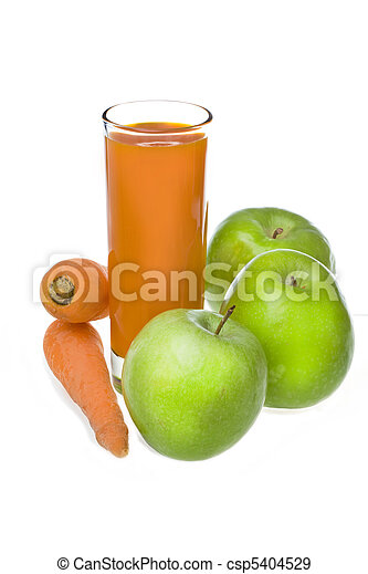 Apples, carrot and juice in glass - csp5404529