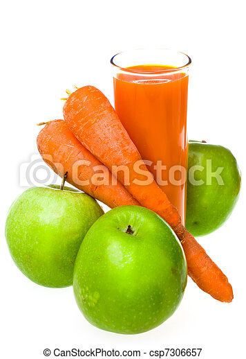 Apples, carrots and juice in a glass - csp7306657