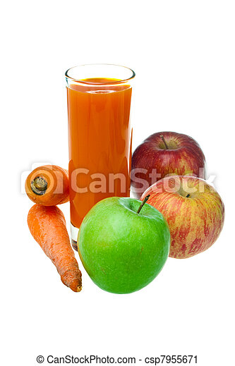 Apples, carrots and juice in a glass - csp7955671