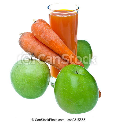 Apples, carrots and juice in a glass - csp9815558