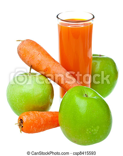 Apples, carrots and juice in a glass - csp8415593