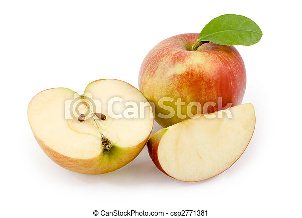 Apples. Cut apple on white background - csp2771381