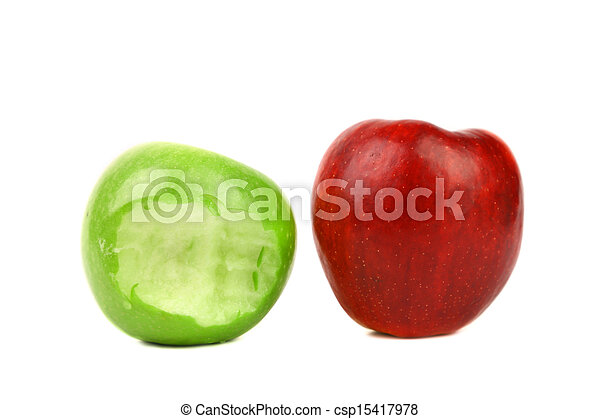 Apples. Green bitten and red. - csp15417978