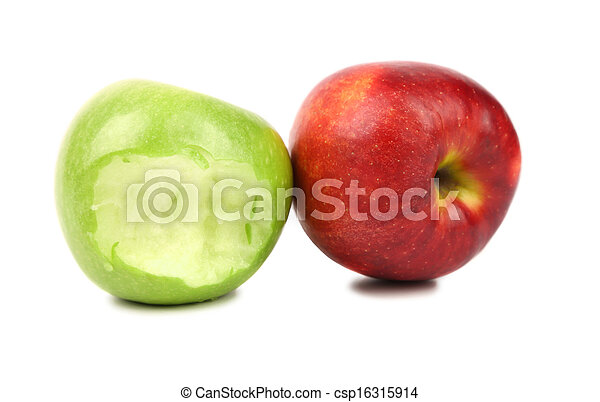 Apples. Green bitten and red. - csp16315914