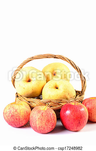 Apples in basket on a white background - csp17248982