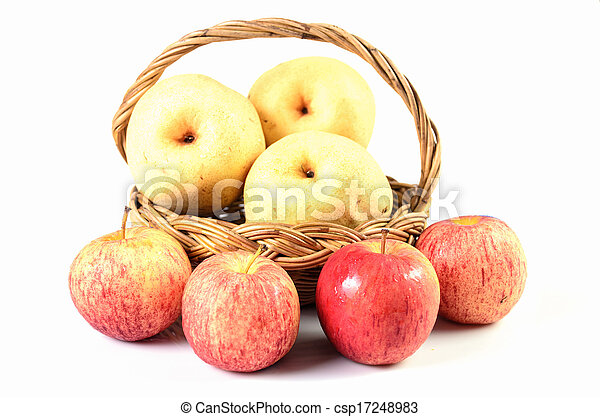 Apples in basket on a white background - csp17248983
