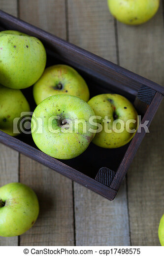 apples in wooden crate, top view - csp17498575