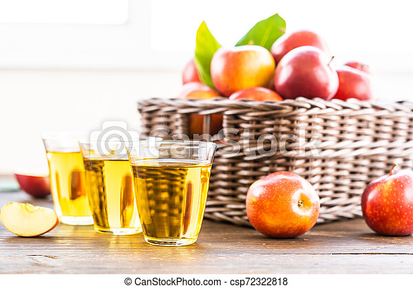 Apples juice in glass with apple in the basket - csp72322818
