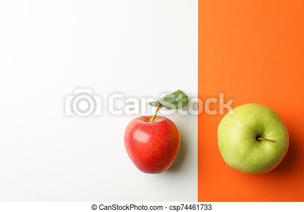 Apples on two tone background, top view - csp74461733