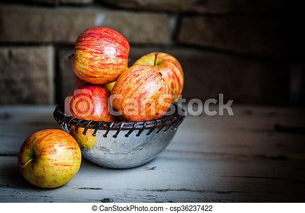 Apples On Wooden Background - csp36237422