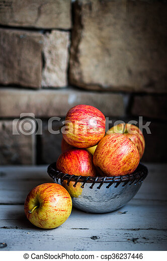 Apples On Wooden Background - csp36237446
