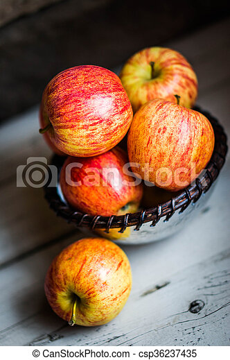 Apples On Wooden Background - csp36237435