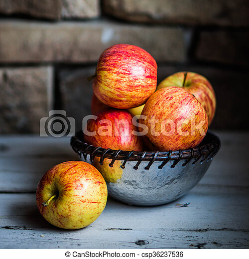 Apples On Wooden Background - csp36237536