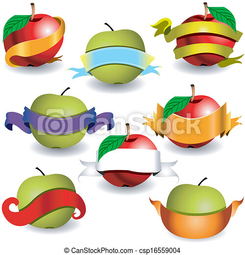 apples with ribbon banners - csp16559004