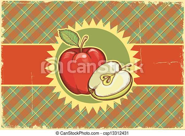 Apples.Vintage label on old paper background texture.Vector illu - csp13312431