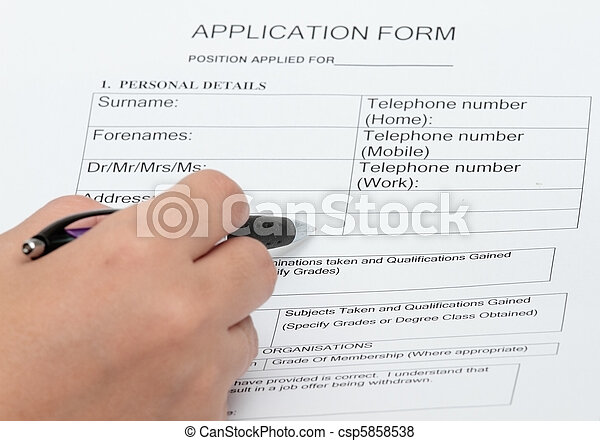 Application and personal details form  - csp5858538