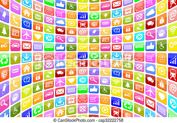 Application Apps App Icon Icons for mobile or smart phone background - csp32222758
