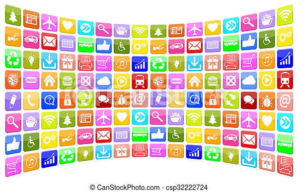 Application Apps App Icon Icons collection for mobile or smart phone - csp32222724