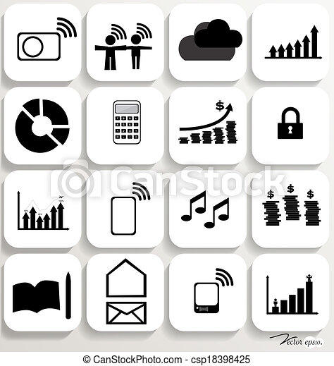 Application icons design set 5. Vector illustration. - csp18398425