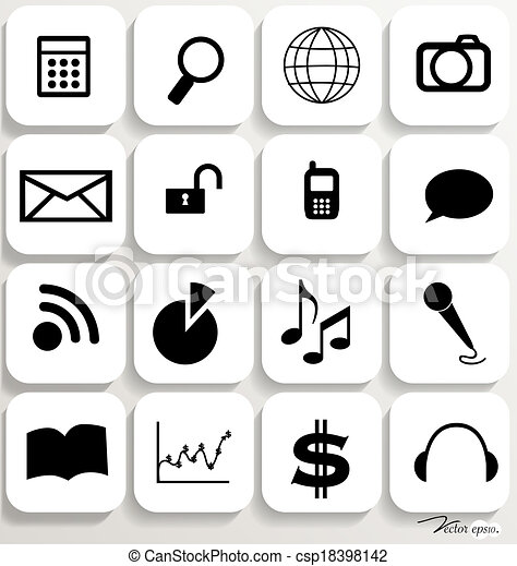 Application icons design set 6. Vector illustration. - csp18398142