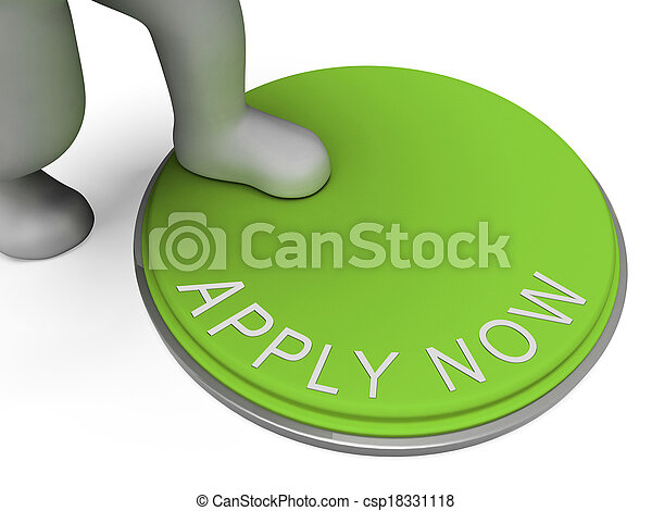 Apply Now Button Shows Recruiting For Employment - csp18331118