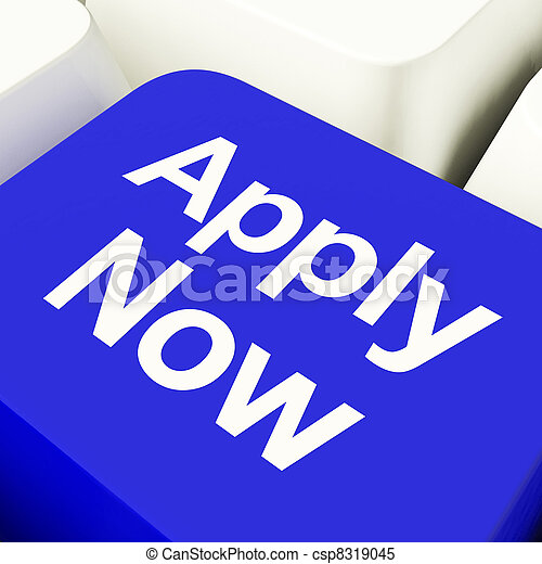 Apply Now Computer Key In Blue For Work Application - csp8319045