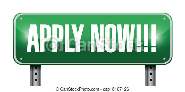 apply now sign illustration design - csp18107126
