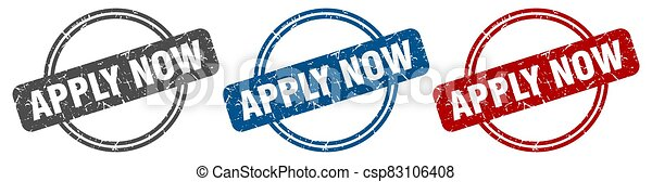 apply now stamp. apply now sign. apply now label set - csp83106408
