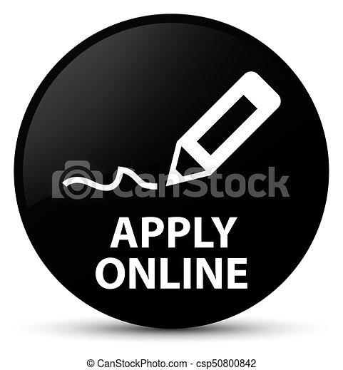 Apply online (edit pen icon) black round button - csp50800842