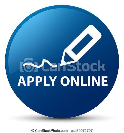 Apply online (edit pen icon) blue round button - csp50072707