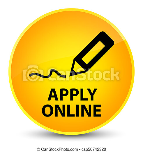 Apply online (edit pen icon) elegant yellow round button - csp50742320