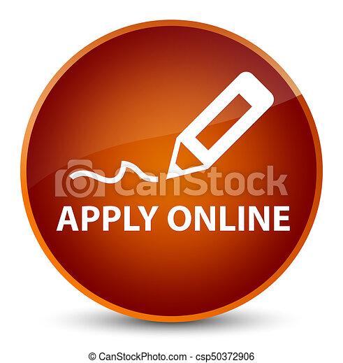 Apply online (edit pen icon) elegant brown round button - csp50372906