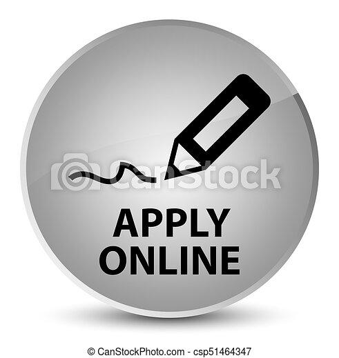 Apply online (edit pen icon) elegant white round button - csp51464347