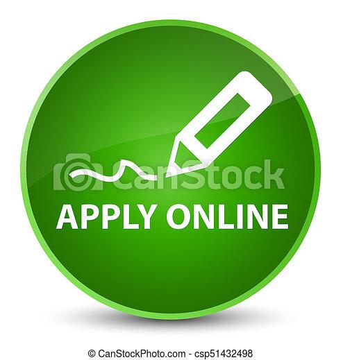 Apply online (edit pen icon) elegant green round button - csp51432498