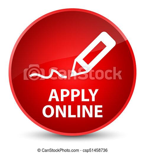 Apply online (edit pen icon) elegant red round button - csp51458736