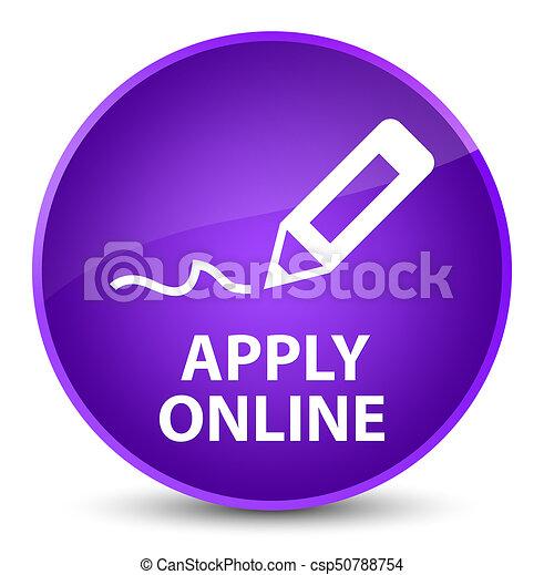 Apply online (edit pen icon) elegant purple round button - csp50788754
