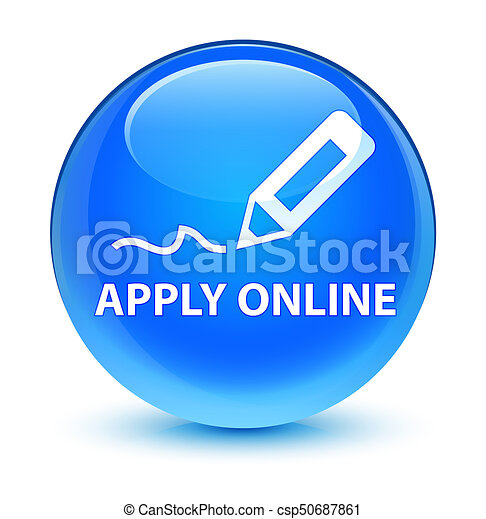 Apply online (edit pen icon) glassy cyan blue round button - csp50687861