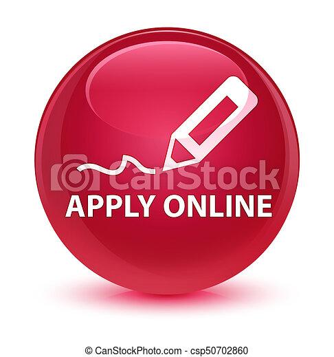 Apply online (edit pen icon) glassy pink round button - csp50702860