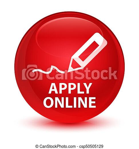 Apply online (edit pen icon) glassy red round button - csp50505129