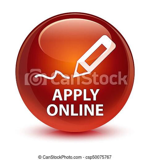 Apply online (edit pen icon) glassy brown round button - csp50075767