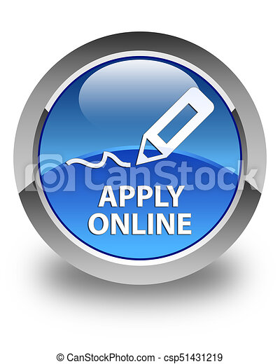 Apply online (edit pen icon) glossy blue round button - csp51431219