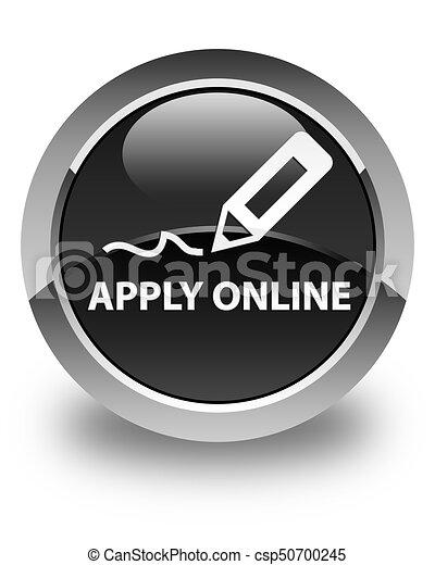 Apply online (edit pen icon) glossy black round button - csp50700245
