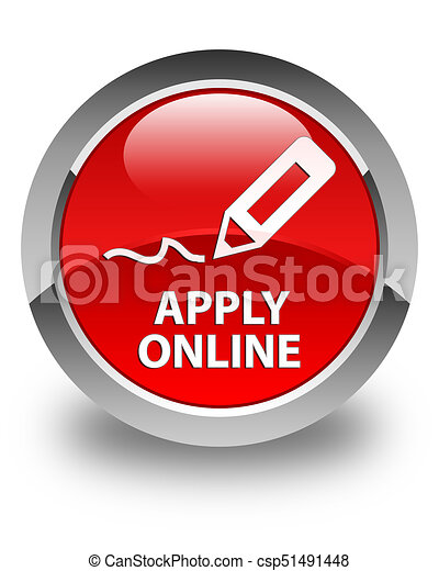 Apply online (edit pen icon) glossy red round button - csp51491448