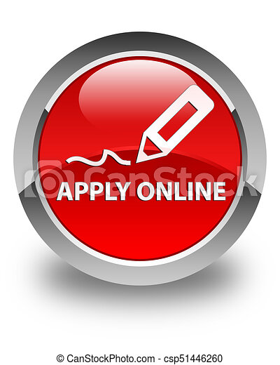 Apply online (edit pen icon) glossy red round button - csp51446260