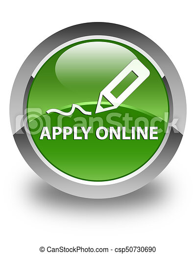 Apply online (edit pen icon) glossy soft green round button - csp50730690