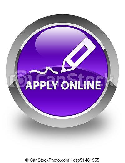 Apply online (edit pen icon) glossy purple round button - csp51481955
