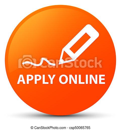 Apply online (edit pen icon) orange round button - csp50065765