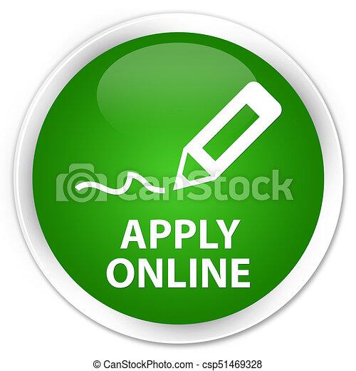 Apply online (edit pen icon) premium green round button - csp51469328