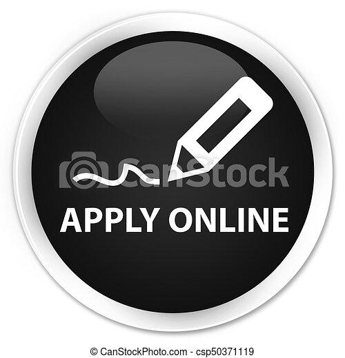 Apply online (edit pen icon) premium black round button - csp50371119